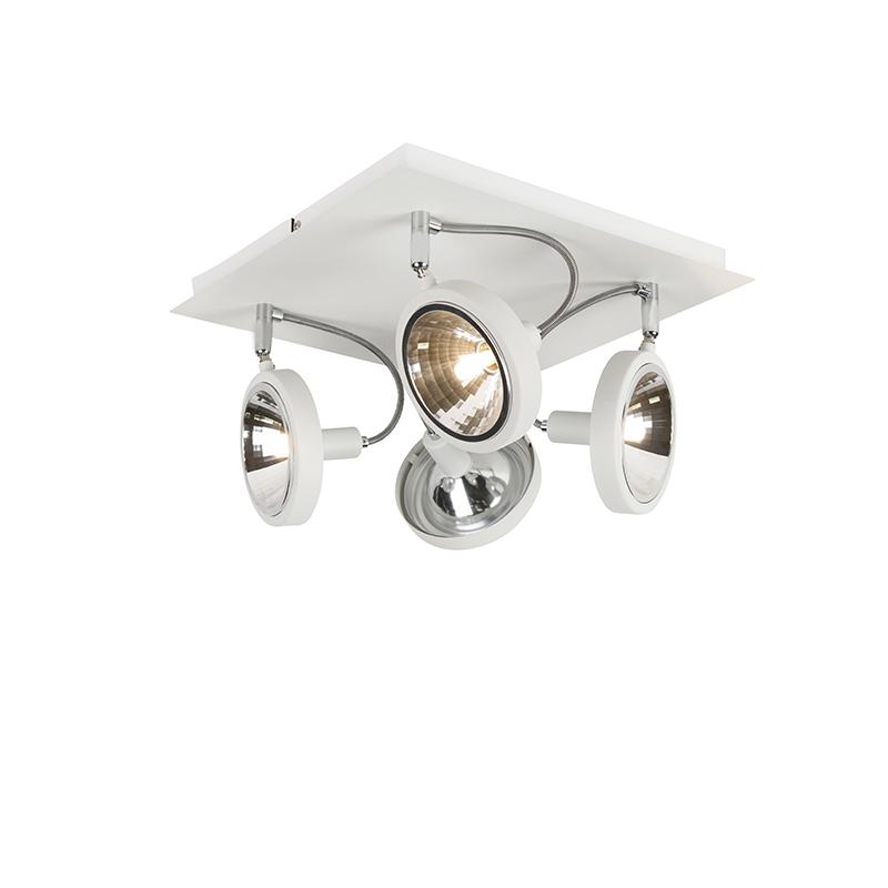 Design spot wit 4-lichts op vierkante plafondplaat - Nox