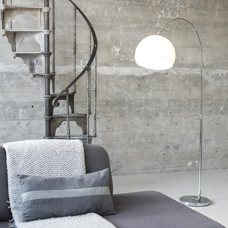 Moderne booglamp chroom met witte kap - Arc Basic