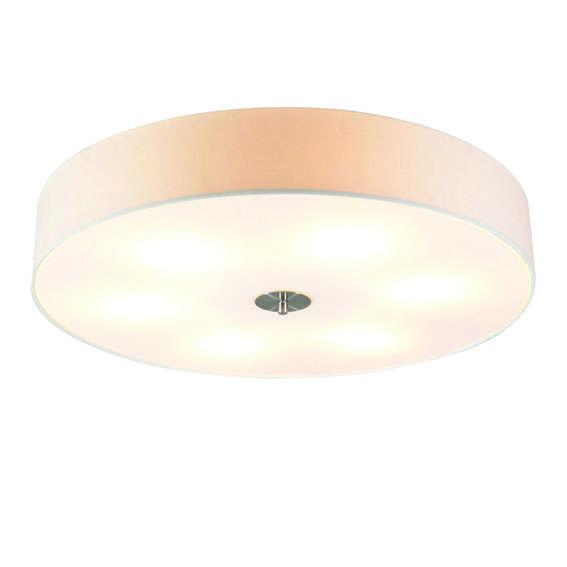 Landelijke ronde plafondlamp wit 70cm - Drum