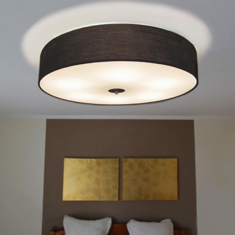 Landelijke Ronde Plafondlamp Zwart 70 Cm - Drum