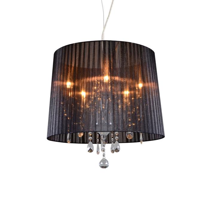 Kroonluchter chroom met zwart 50 cm 5-lichts - Ann-Kathrin 5