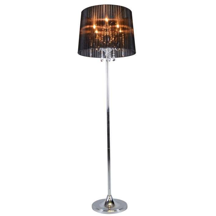 Klasyczna lampa podłogowa chrom czarny klosz - Ann-Kathrin 5
