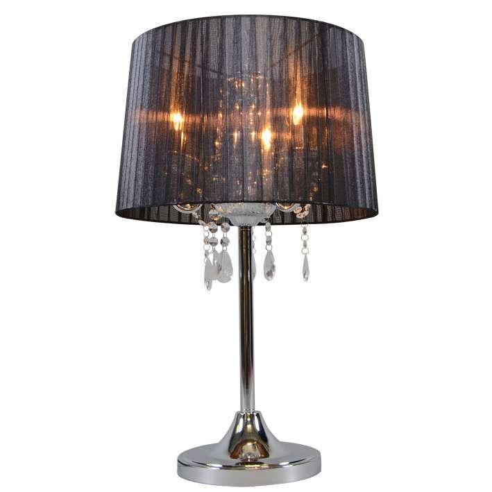Klasyczna lampa stołowa chrom czarny klosz - Ann-Kathrin 3