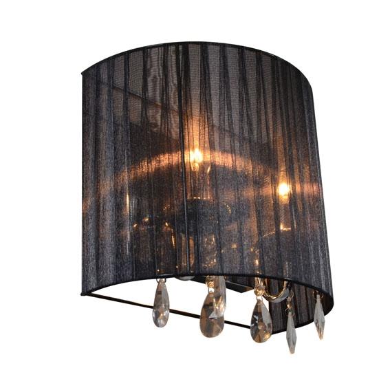 Klassieke wandlamp chroom met zwarte kap - Ann-Kathrin 2