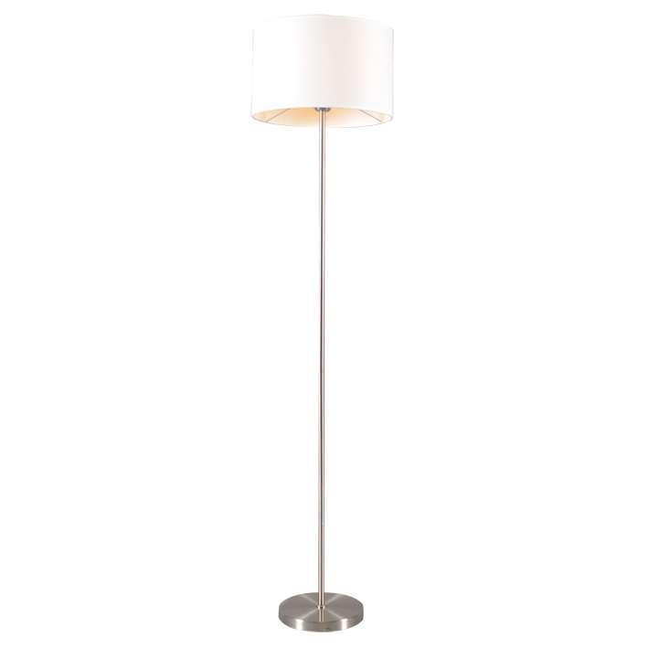 Vloerlamp Lugar staal met kap wit