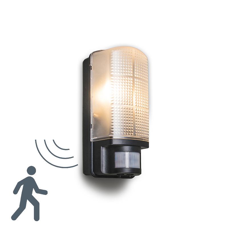 Buitenlamp Mossa met bewegingsmelder zwart