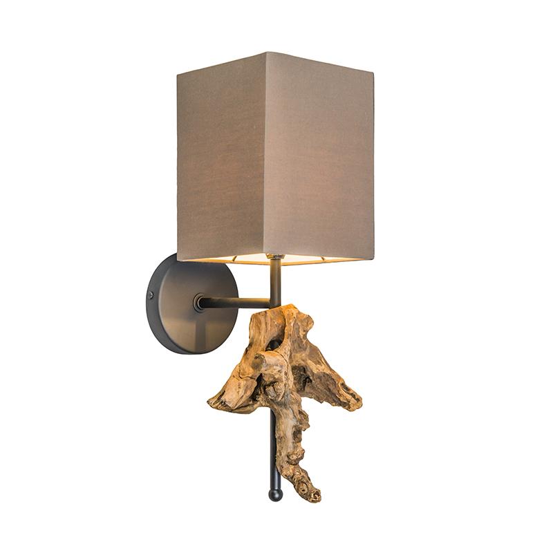 Wandlamp Suchin naturel met bruine kap