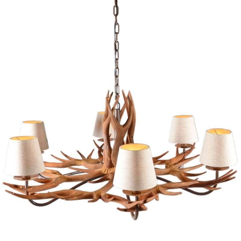 Hanglamp Yindee 6 natuur met kapjes (ALLEEN AF TE HALEN)