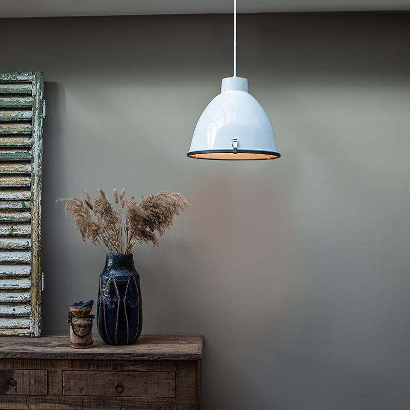 Industriële hanglamp wit 38 cm dimbaar Anteros