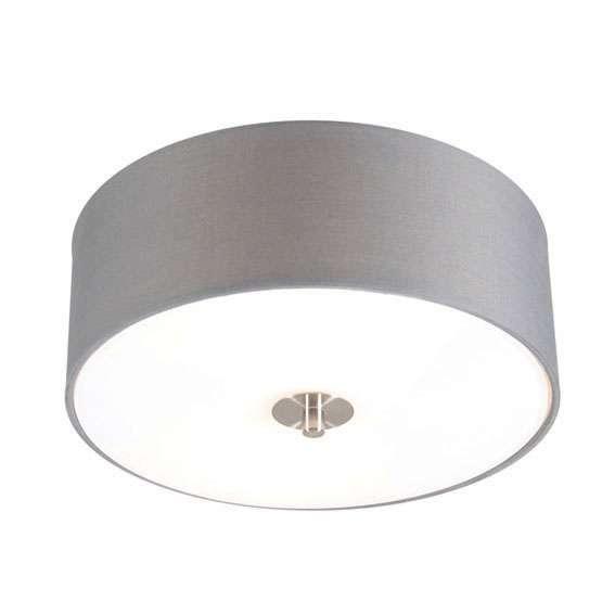 Landelijke ronde plafondlamp grijs 30 cm - Drum