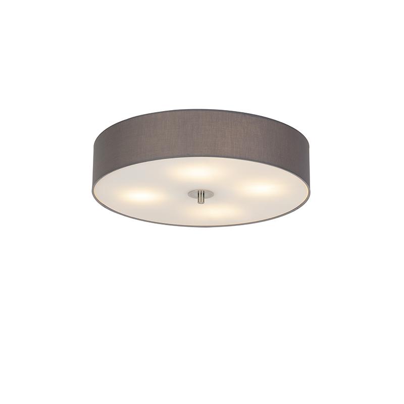 Landelijke ronde plafondlamp grijs 50 cm - Drum