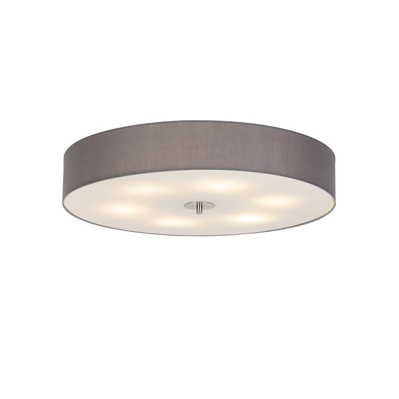 Landelijke plafondlamp grijs 70 cm - Drum