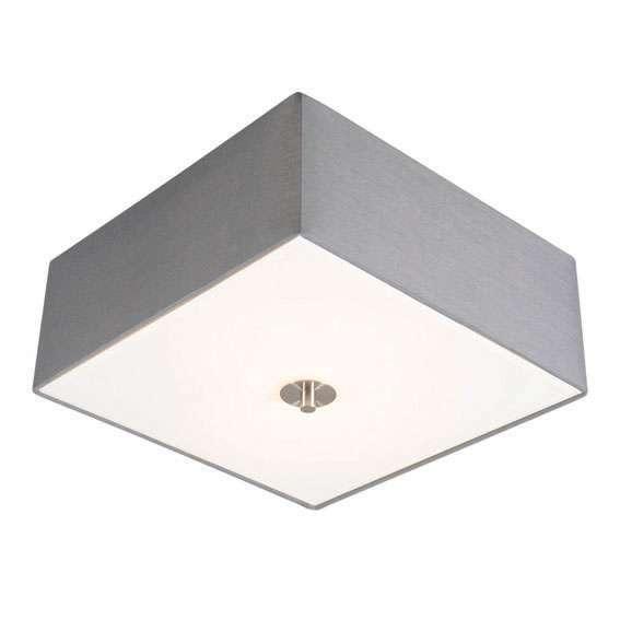 Landelijke vierkante plafondlamp 35 cm grijs - Drum