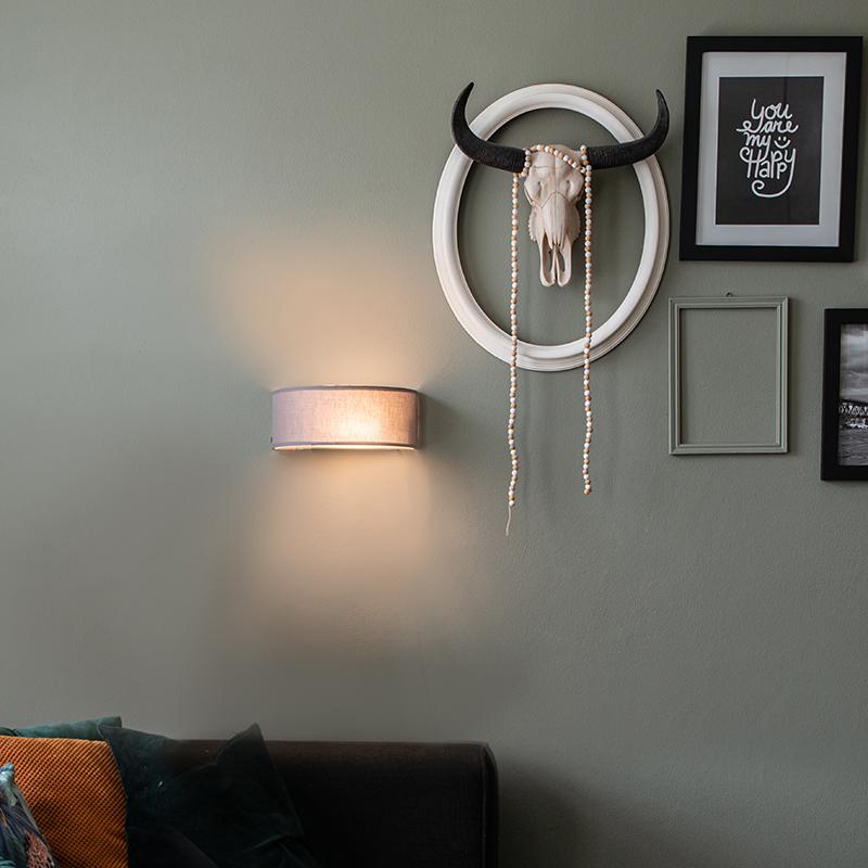 Wandlamp half rond grijs - Drum