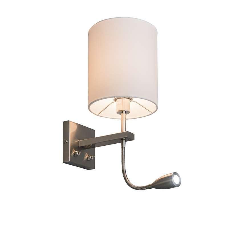 Wandlamp Brescia rond staal met witte kap