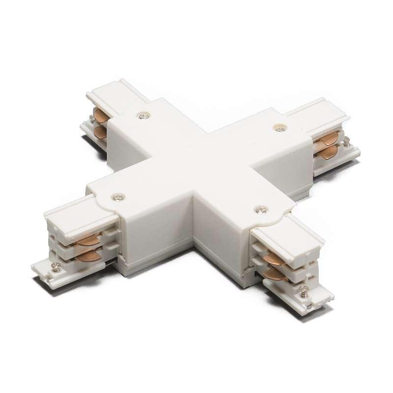 X-Verbindungsstück für 3-Phasen-Schienensystem weiß | Lampen > Strahler und Systeme > Schienensysteme | Weiß | Kunststoff | QAZQA