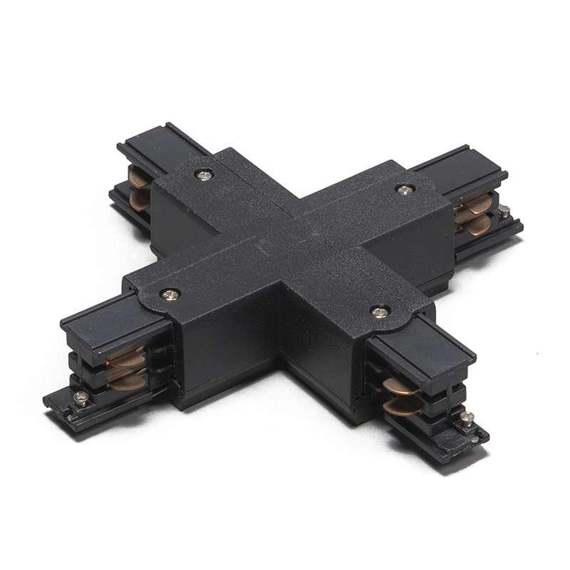 X-Koppelstuk voor 3-fase rail zwart