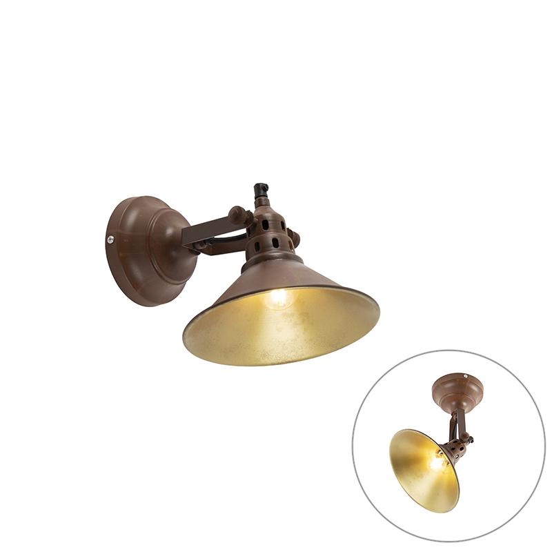 Industri�le wandlamp roest met goud - Rust