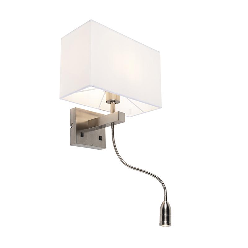 Wandlamp Bergamo staal met kap creme wit