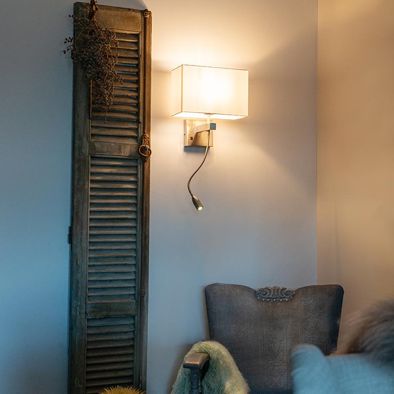 Wandlamp staal met witte kap en leesarm incl. LED - Bergamo