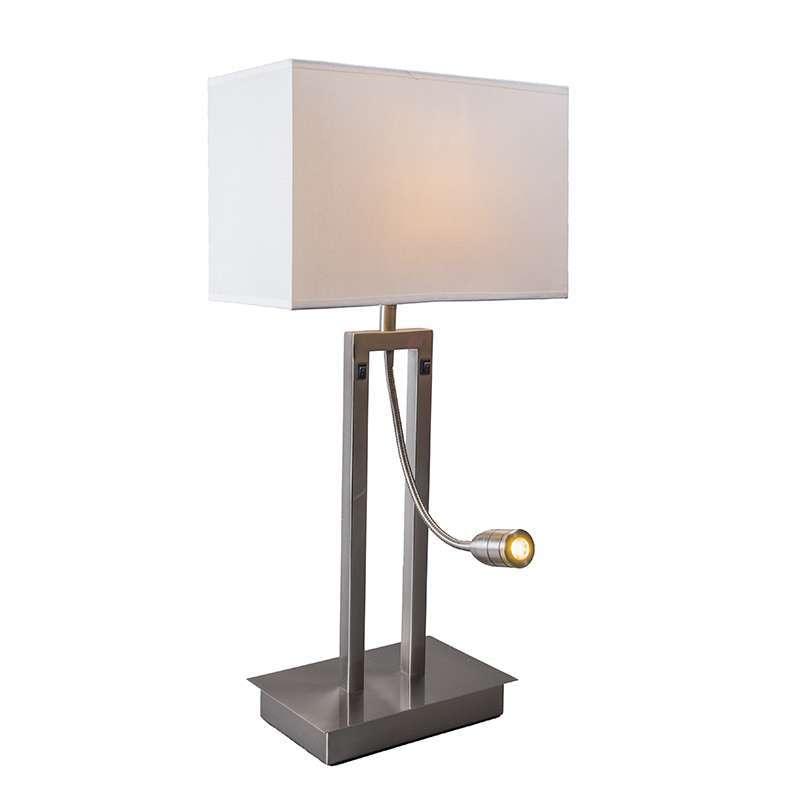 Tafellamp Bergamo staal met kap creme wit