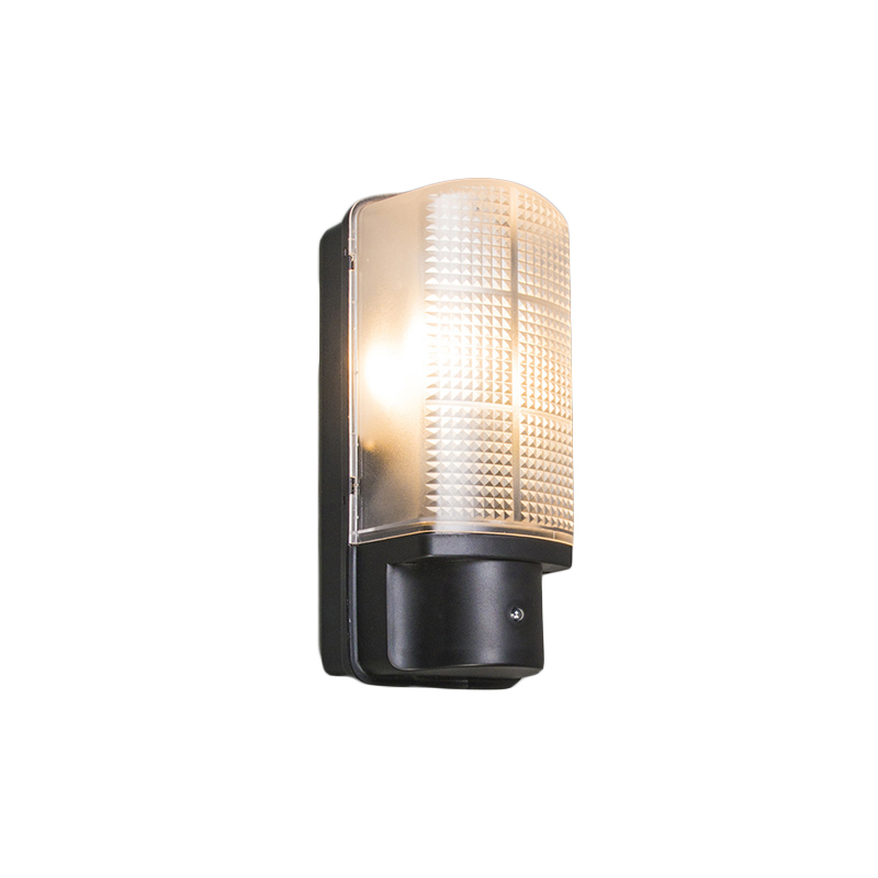 Buitenwandlamp zwart met licht-donker schakelaar IP44 - Mossa