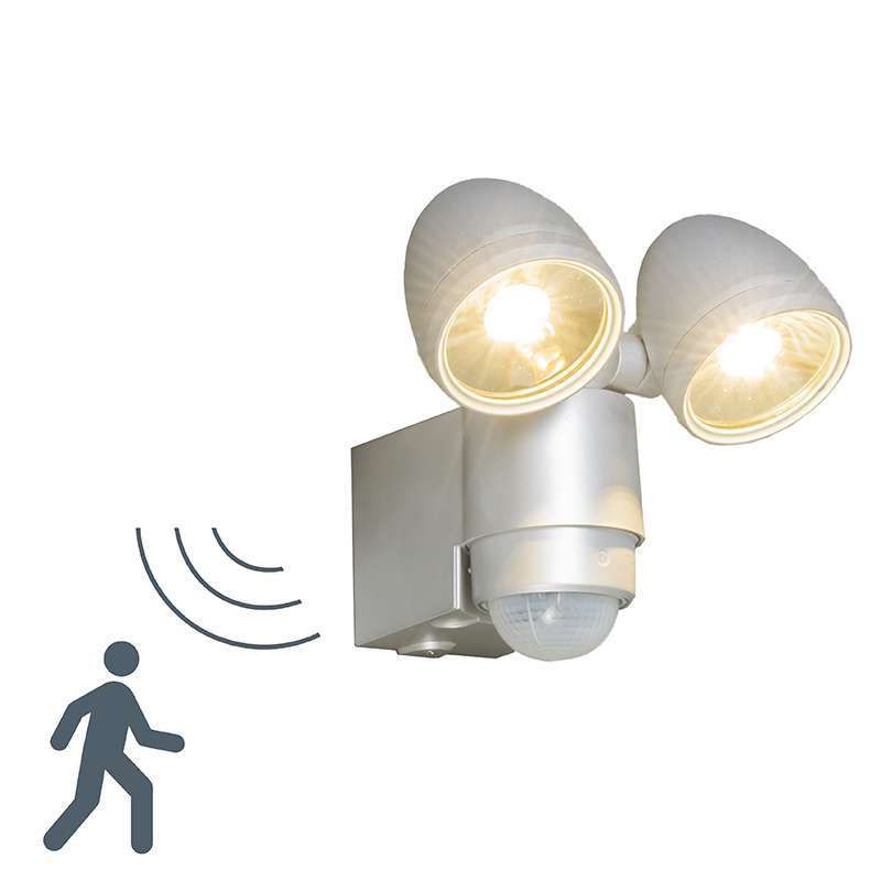 Buitenlamp VAP Duo zilvergrijs met bewegingsmelder