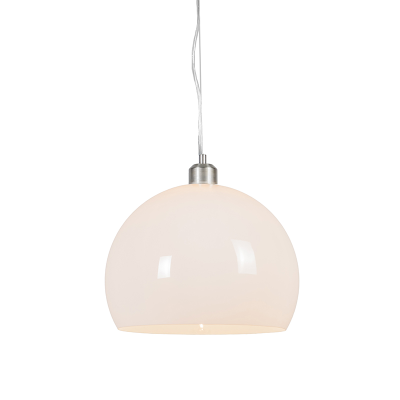 Moderne ronde hanglamp opaal wit - Globe