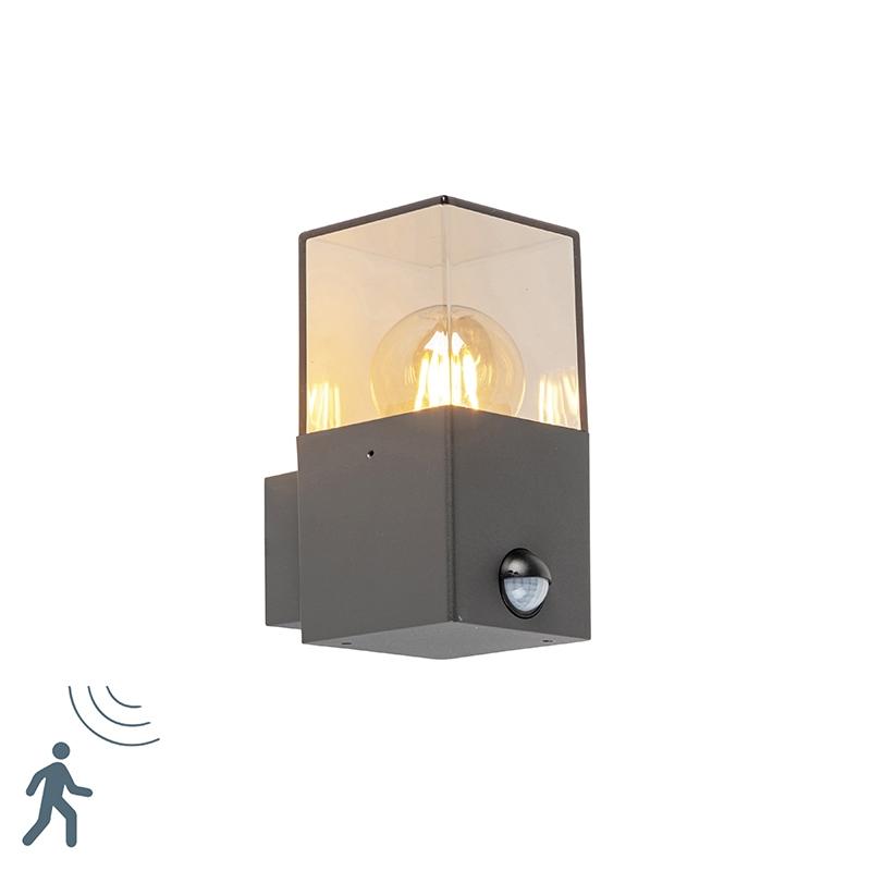 Nowoczesny kinkiet zewnętrzny czujnik ruchu/zmierzchu antracyt IP44 - Denmark