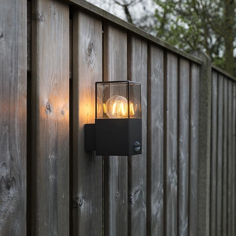 Moderne rechthoekige buitenwandlamp donkergrijs met bewegingsmelder - Denmark