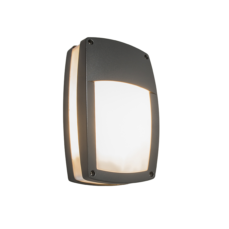 Moderne buitenwandlamp donkergrijs - Glow recta 1