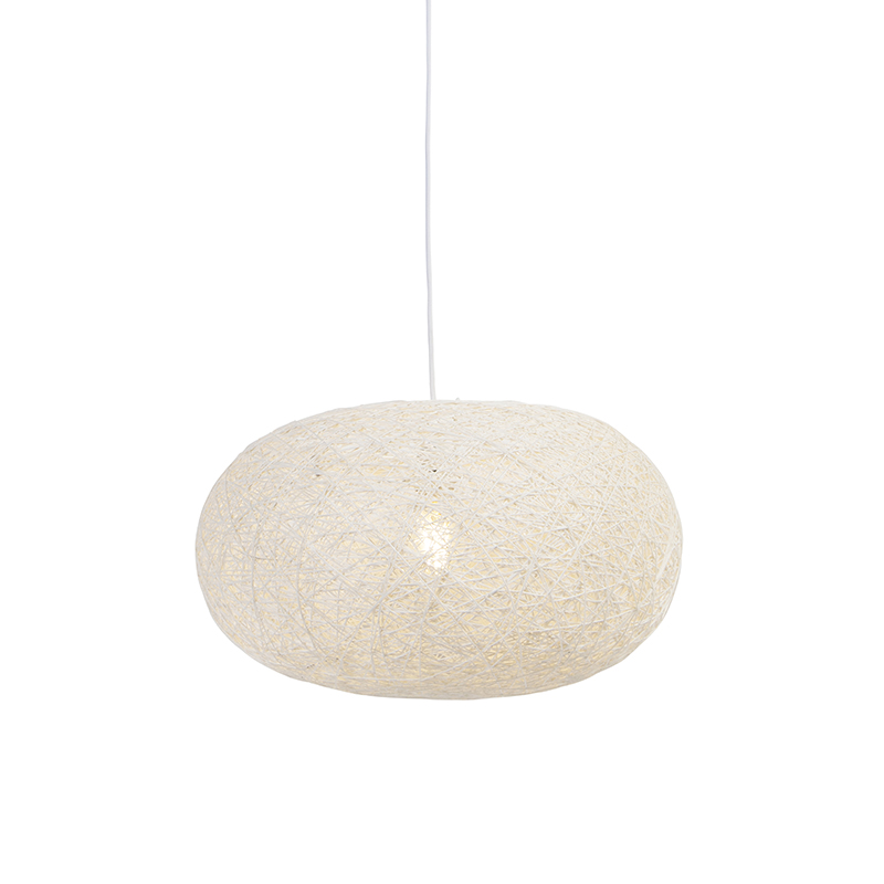 Landelijke hanglamp wit 50 cm - Corda Flat