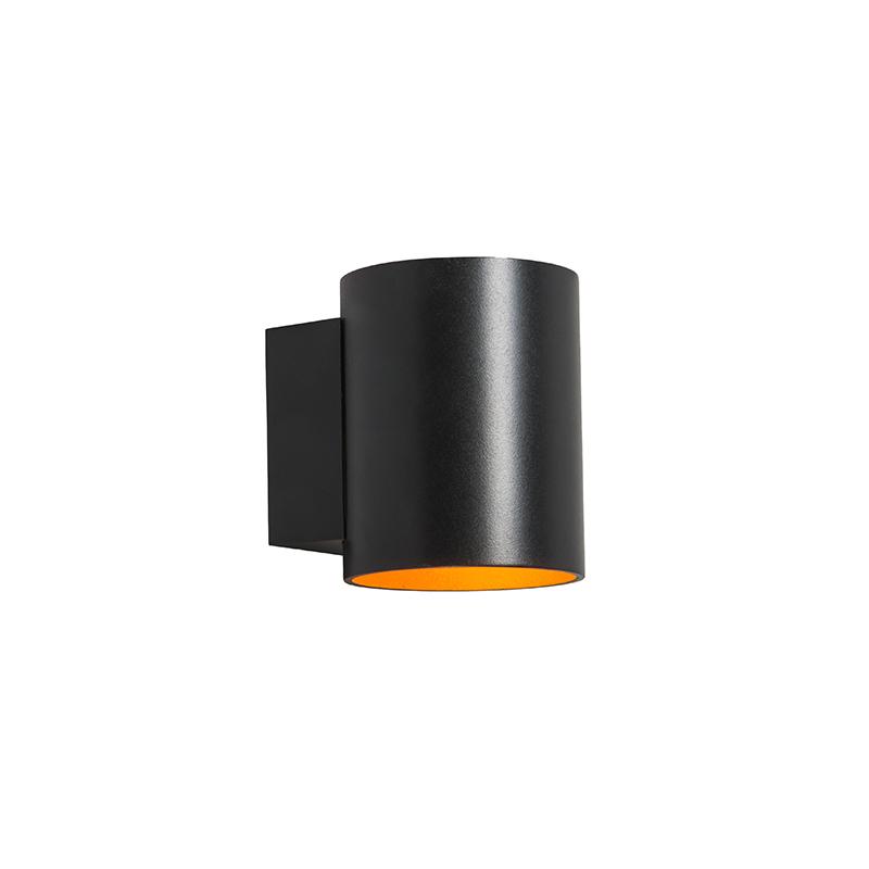 Wandlamp rond zwart met goud - Sola