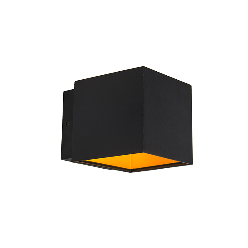 Set van 2 design wandlampen zwart/goud incl. LED - Caja