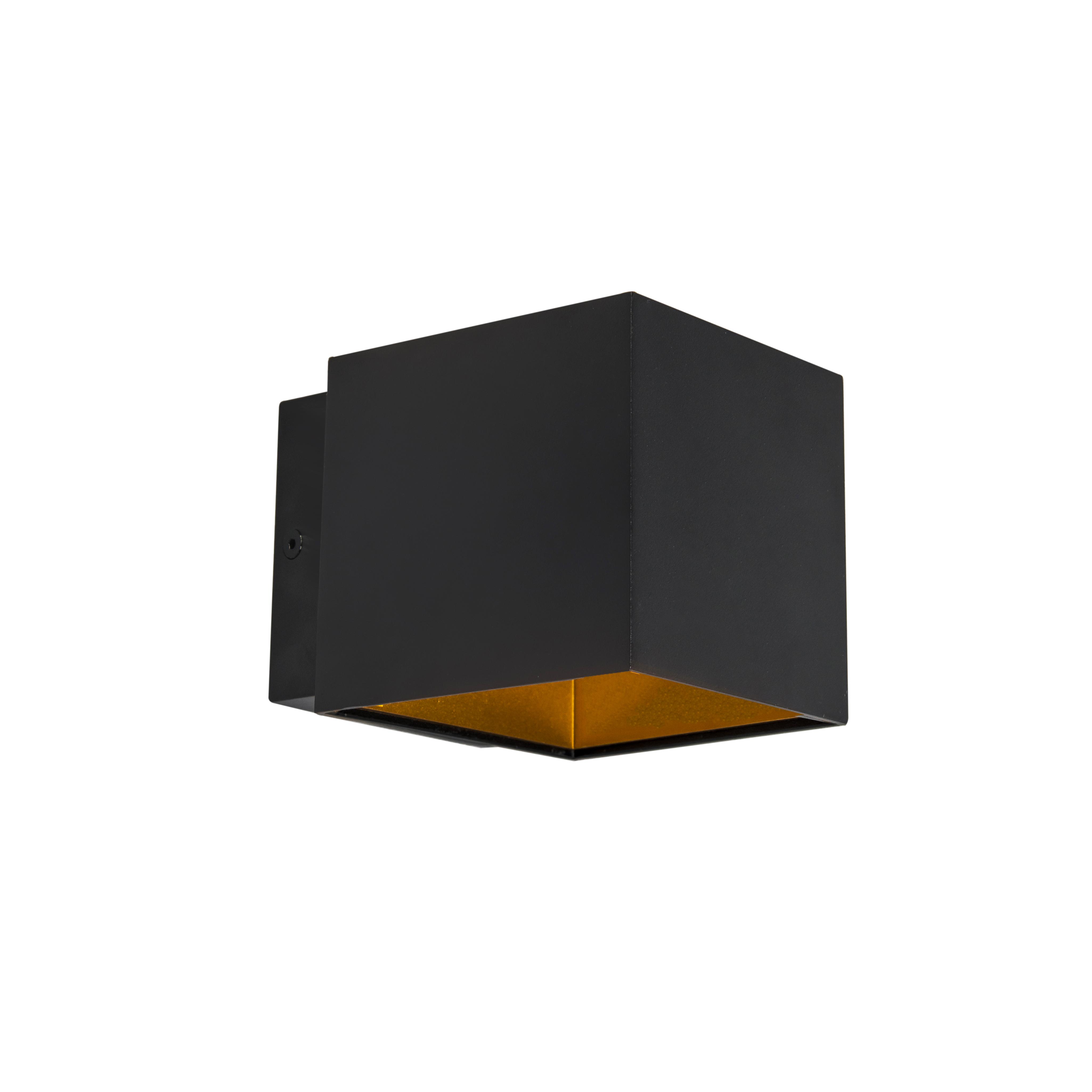 Designerska lampa ścienna czarno-złota w tym LED - Caja
