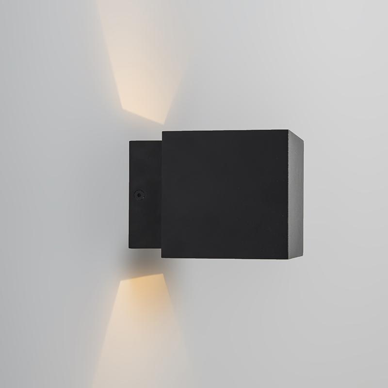 Wandlamp Caja zwart/goud