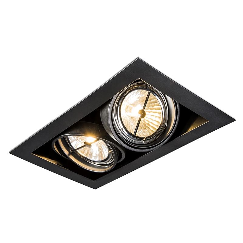 Rechthoekige Inbouwspot Zwart - Oneon 111-2