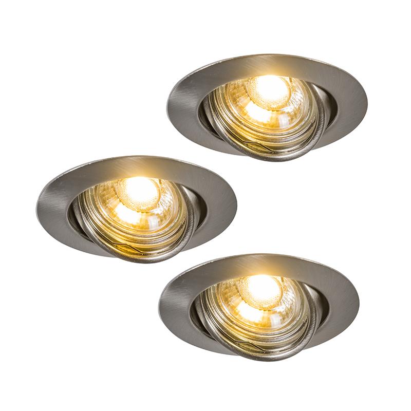 LED inbouwset van 3 EDO spots kantelbaar staal