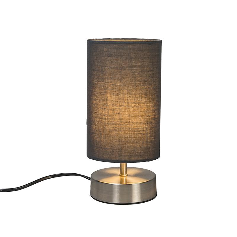 Nowoczesna lampa stołowa szara ze stalą - Milo 2