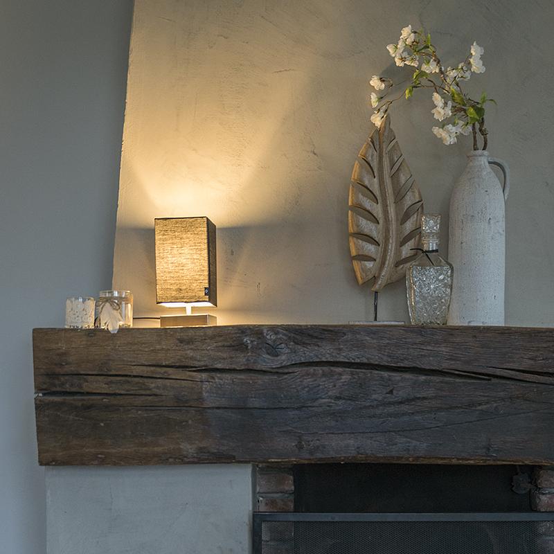 Moderne tafellamp zwart met staal - Milo
