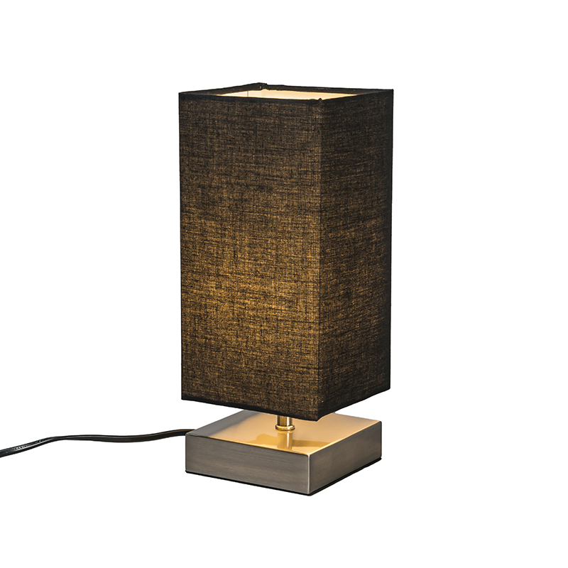 Nowoczesna lampa stołowa stal czarny klosz - Milo