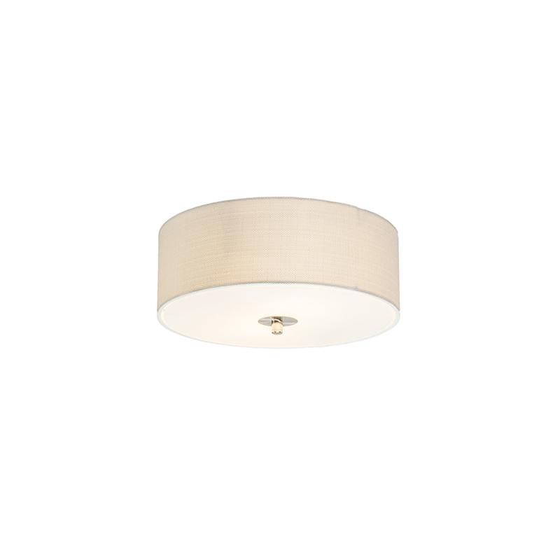 Landelijke plafondlamp wit/cr�me 30 cm - Drum Jute