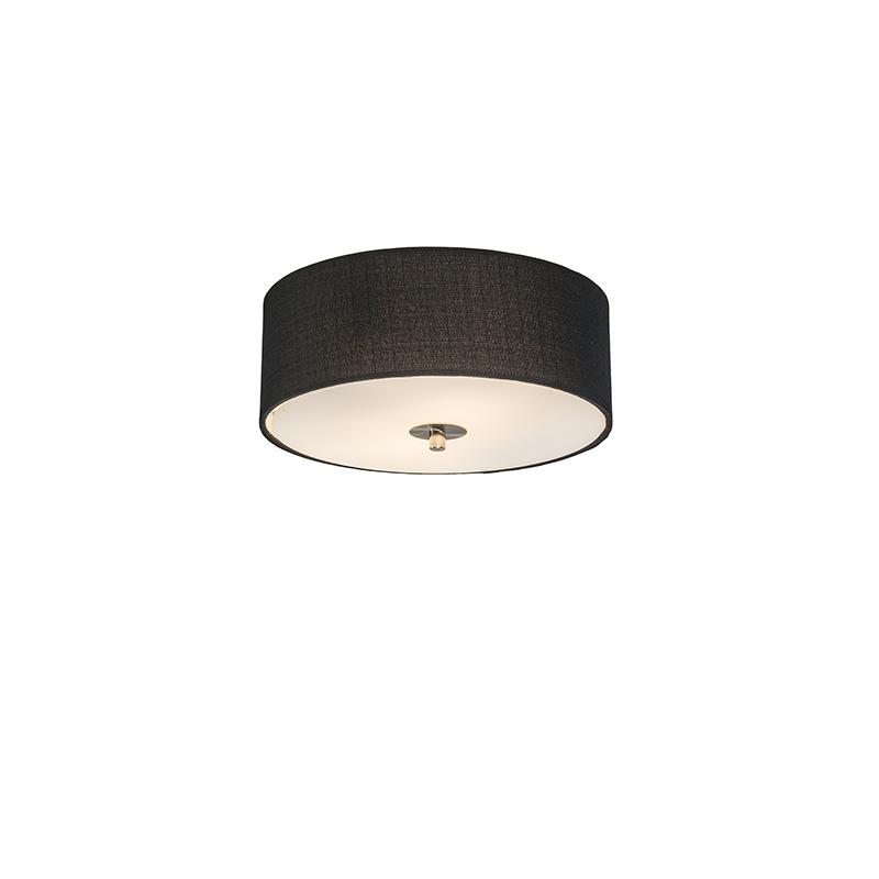 Landelijke plafondlamp zwart 30 cm - Drum Jute