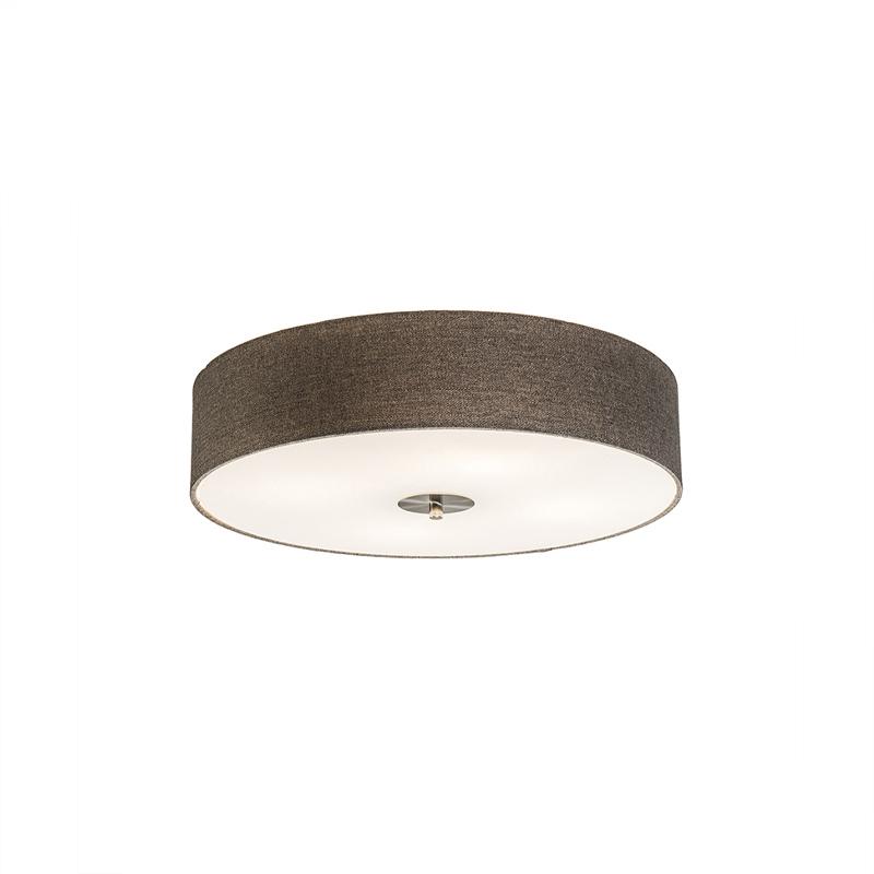 Landelijke plafondlamp taupe 50 cm - Drum Jute