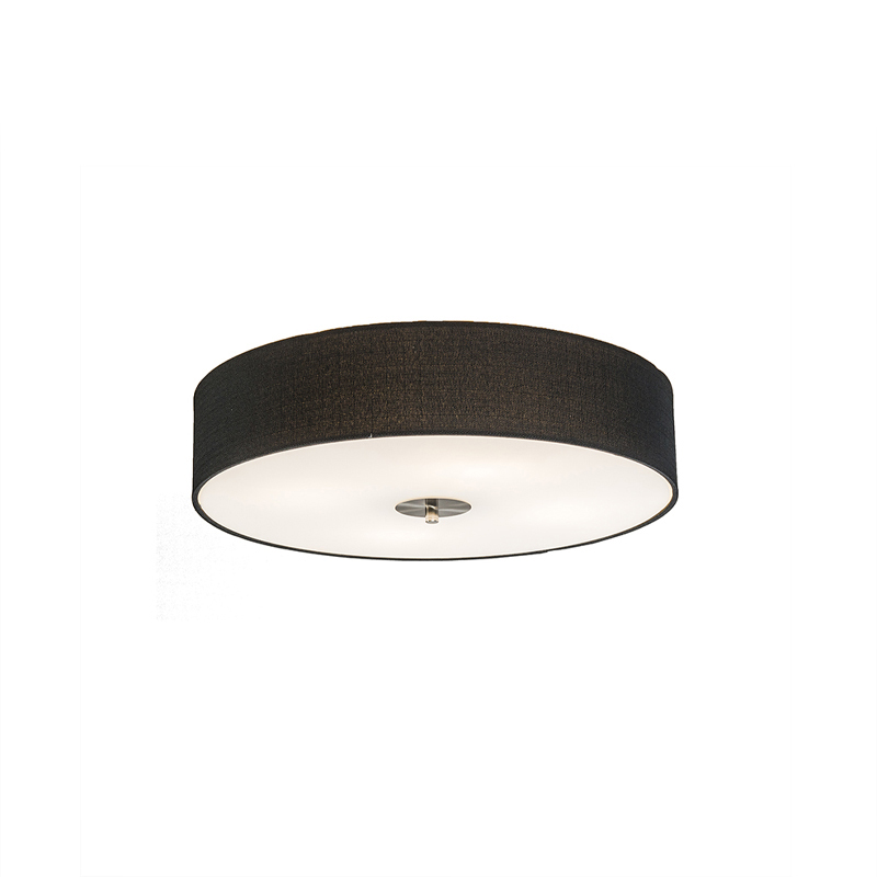 Landelijke plafondlamp zwart 50 cm - Drum Jute