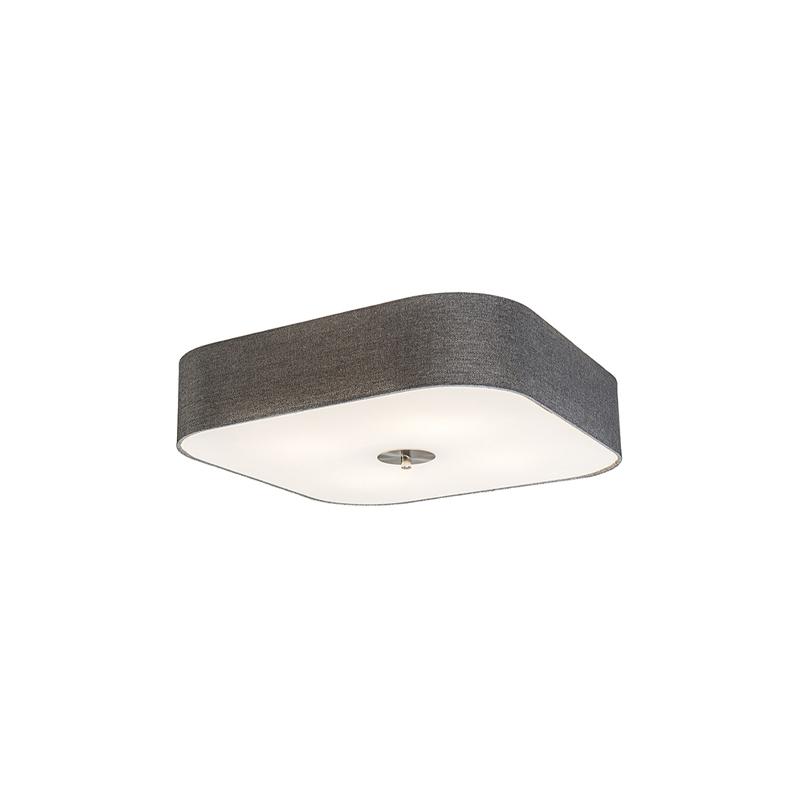 Plafondlamp vierkant grijs 50 cm - Drum deluxe Jute