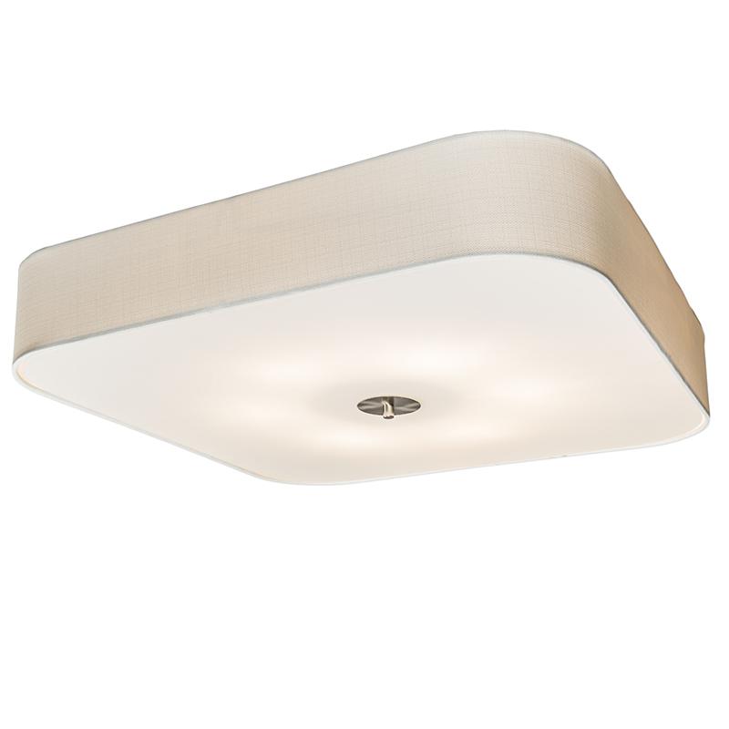 Plafondlamp vierkant wit 70 cm - Drum deluxe Jute