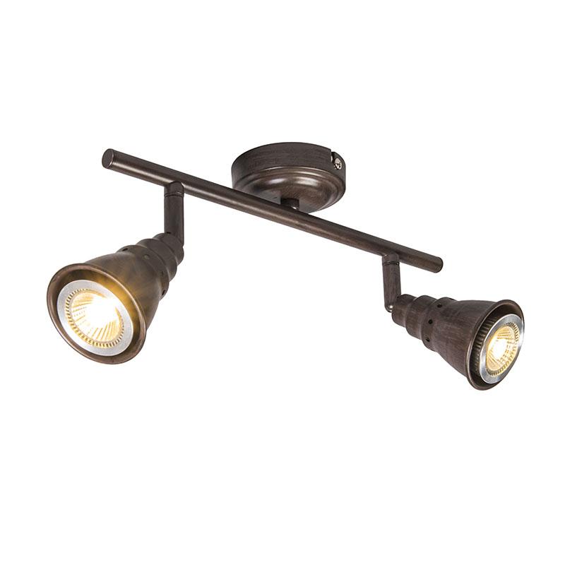 Plafond- en wandspot roestbruin draai- en kantelbaar - Coney 2