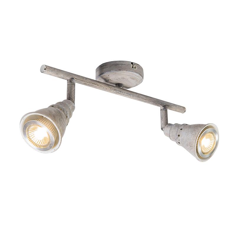 Plafond- en wandspot grijs draai- en kantelbaar - Coney 2