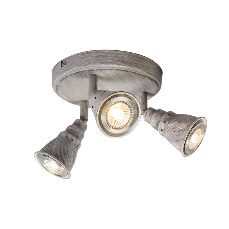 Plafond- en wandspot grijs draai- en kantelbaar rond - Coney 3